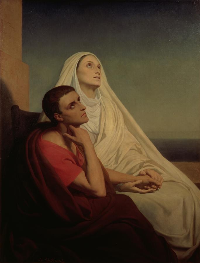 šv. Monika besimeldžianti už sūnų