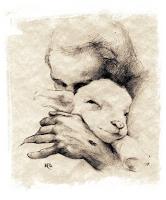 Vyras apkabinęs avinėlį